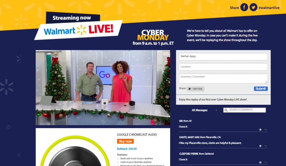 Walmart's Live Cyber Monday Event