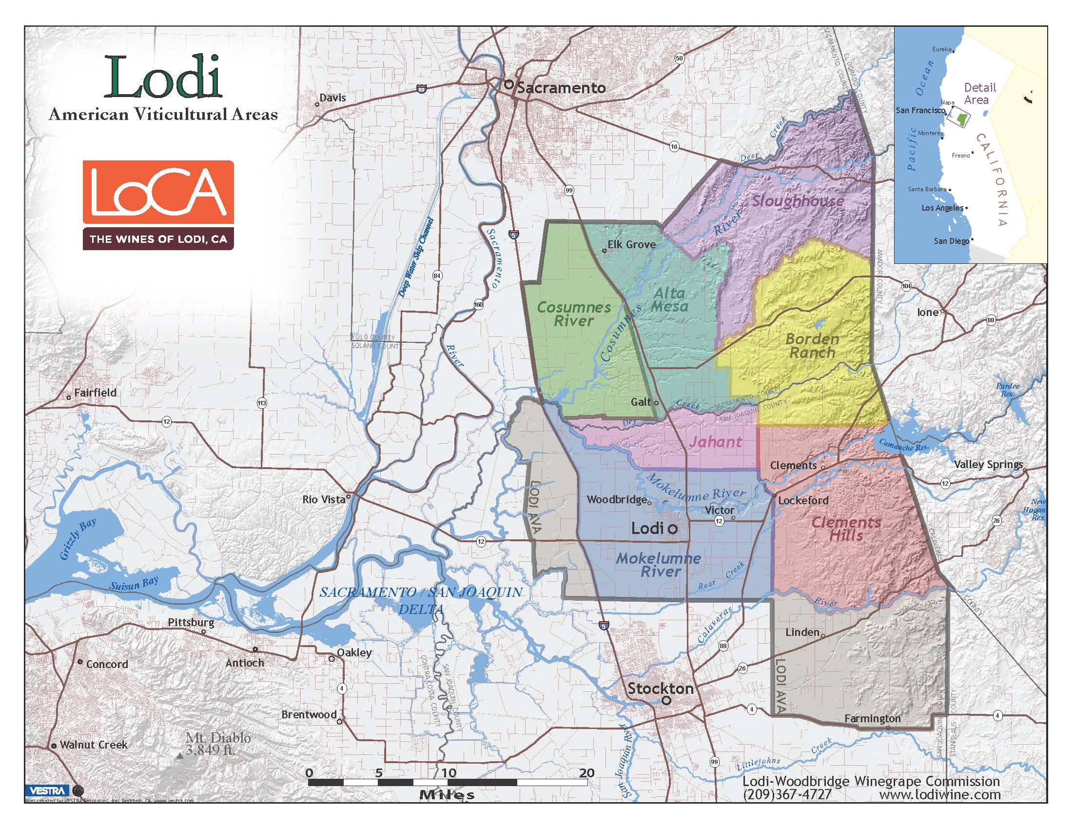 Map of Lodi Wine Region