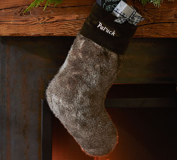FAUX FUR STOCKING - CHICHCILLA