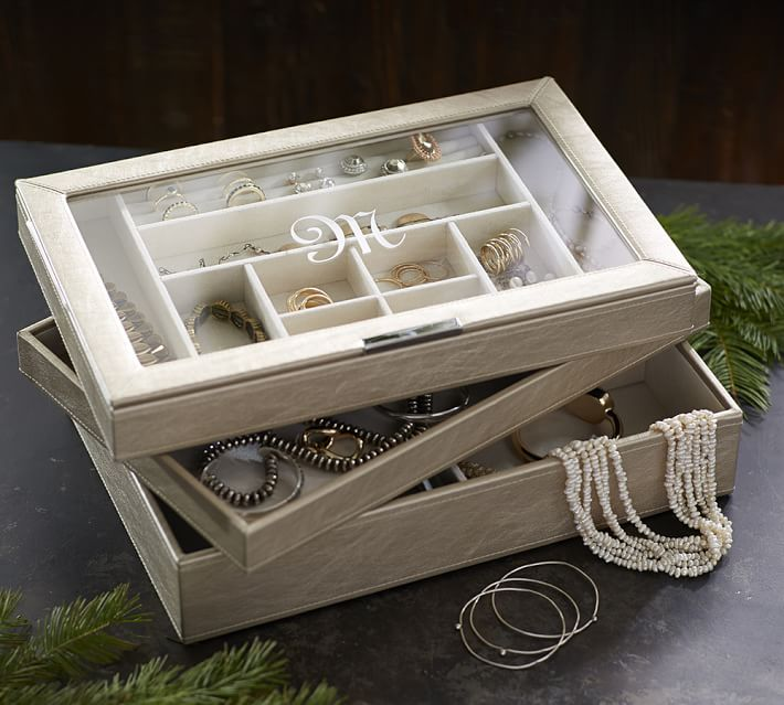 MCKENNA LEATHER STACKING CLEAR TOP JEWELRY BOX