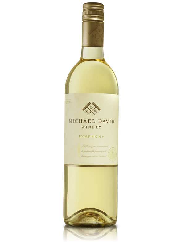 MICHAEL DAVID WINERY 2014 SYMPHONY (SRP $15.00) WITH INDIVIDUALIZED PEACH COBBLER